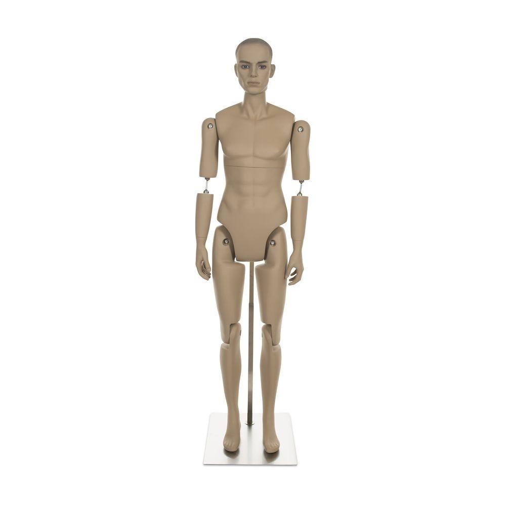 Mannequin homme réaliste, amovible, couleur chair, incl. Socle et tiges pos.4 (photo)