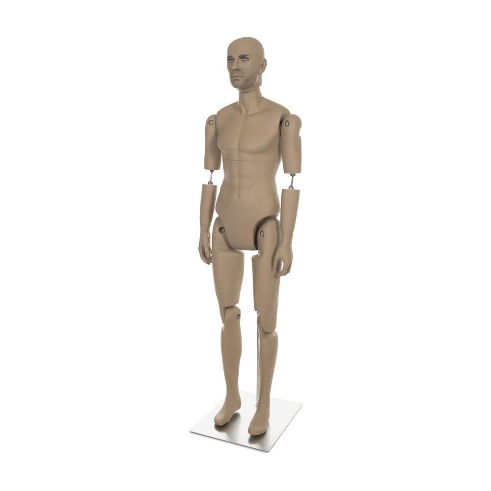 Mannequin homme réaliste, amovible, couleur chair, incl. Socle et tiges pos.5 (photo)