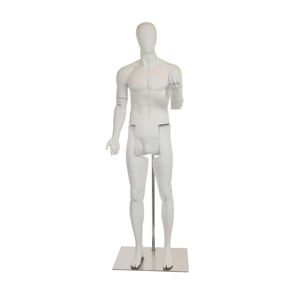 Mannequin homme abstrait, amovible, couleur blanc mat, incl. Socle et tiges (photo)