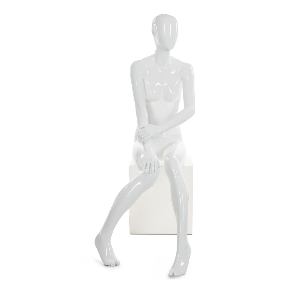 Mannequin femme abstrait, couleur blanc brillant, position assise (photo)