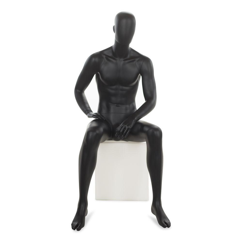 Mannequin homme abstrait, couleur noir mat, position assise (photo)
