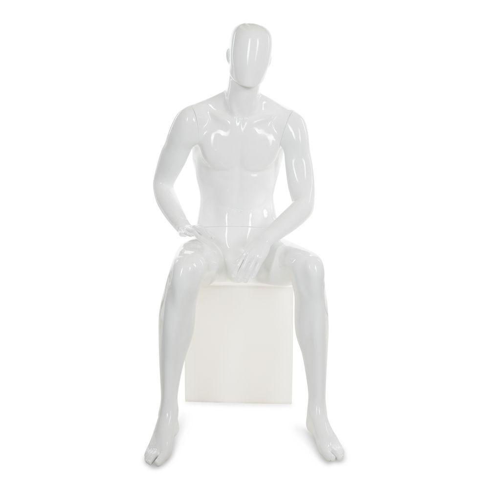 Mannequin homme abstrait, couleur blanc brillant, position assise (photo)