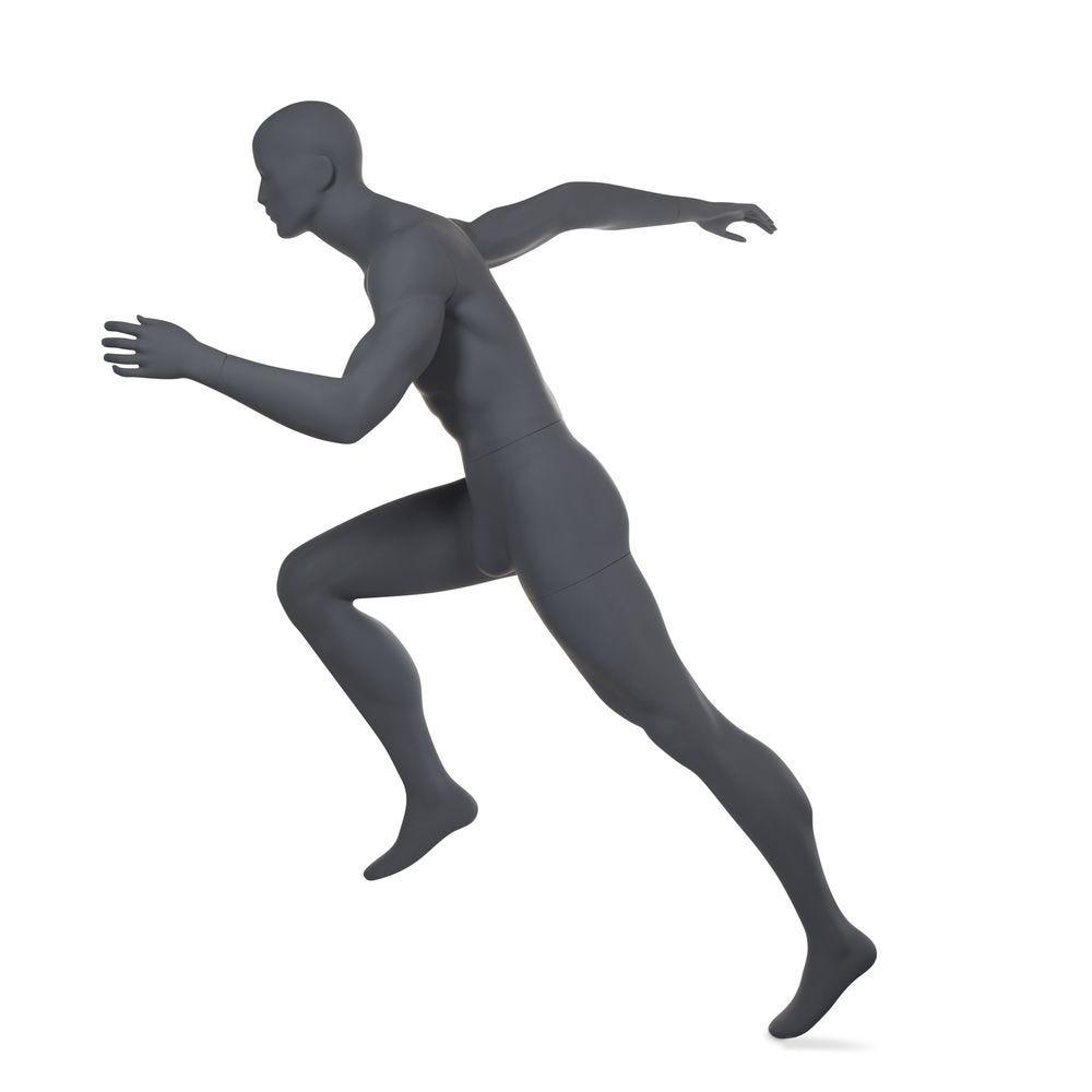 Mannequin homme, tête abstraite, runner, gris graphite, incl. Socle et tiges (photo)
