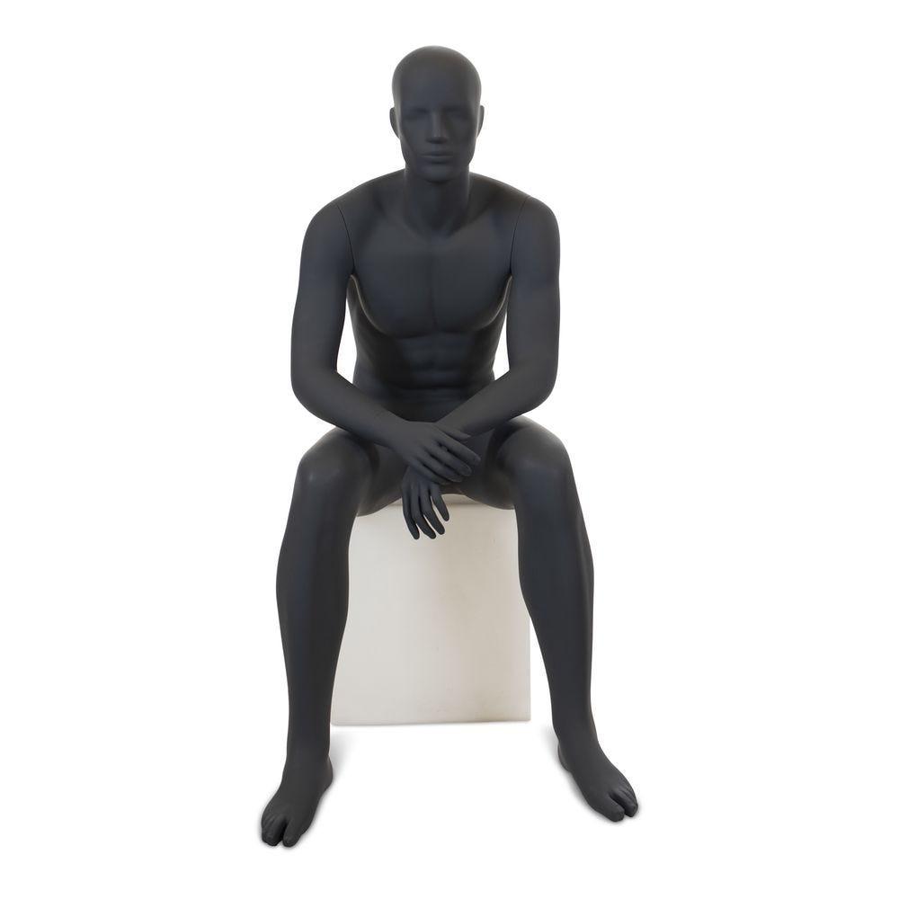 Mannequin homme, tête abstraite, gris graphite, position assise, excl. Cube (photo)