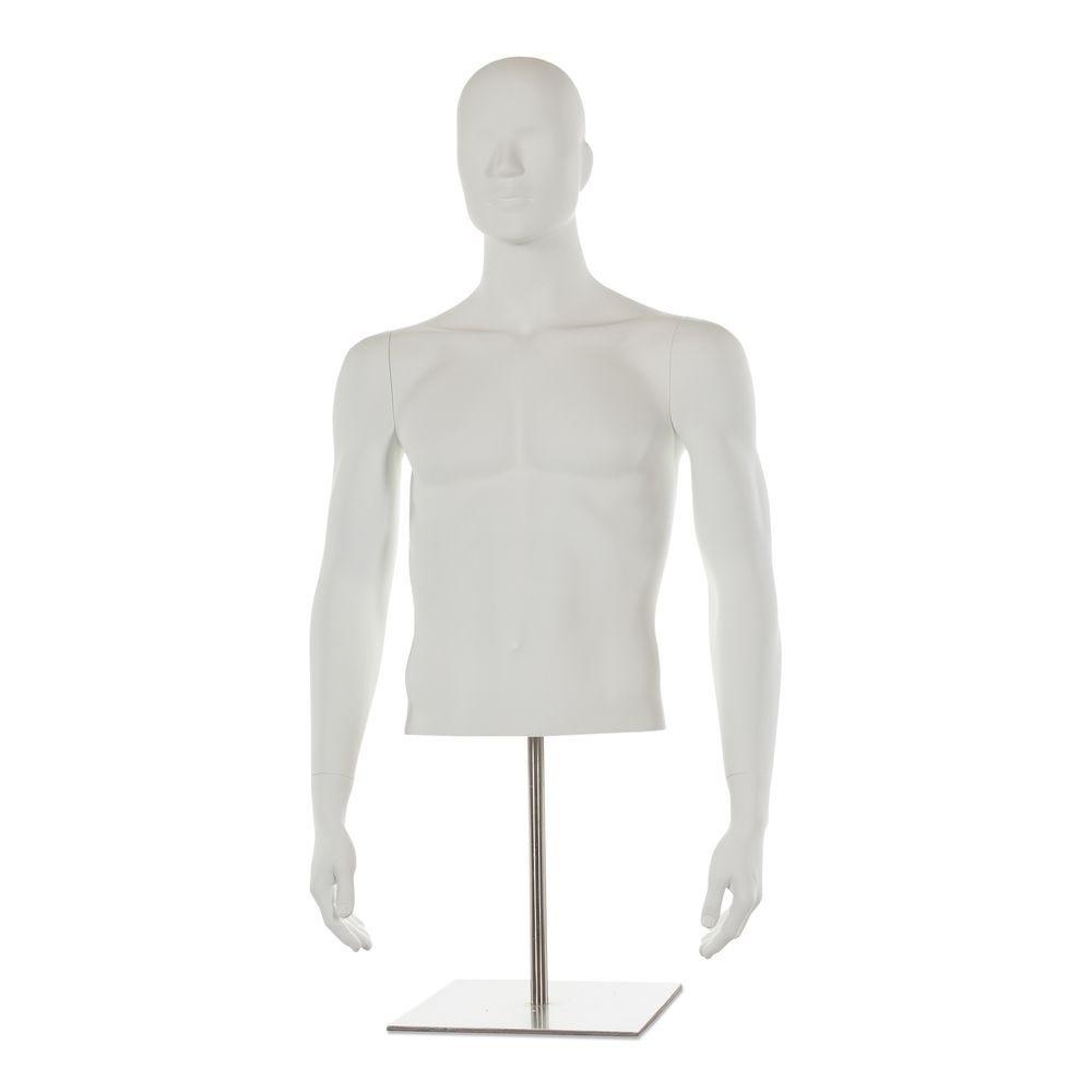 Buste homme avec tête et bras, frp blanc mat, incl. Socle court