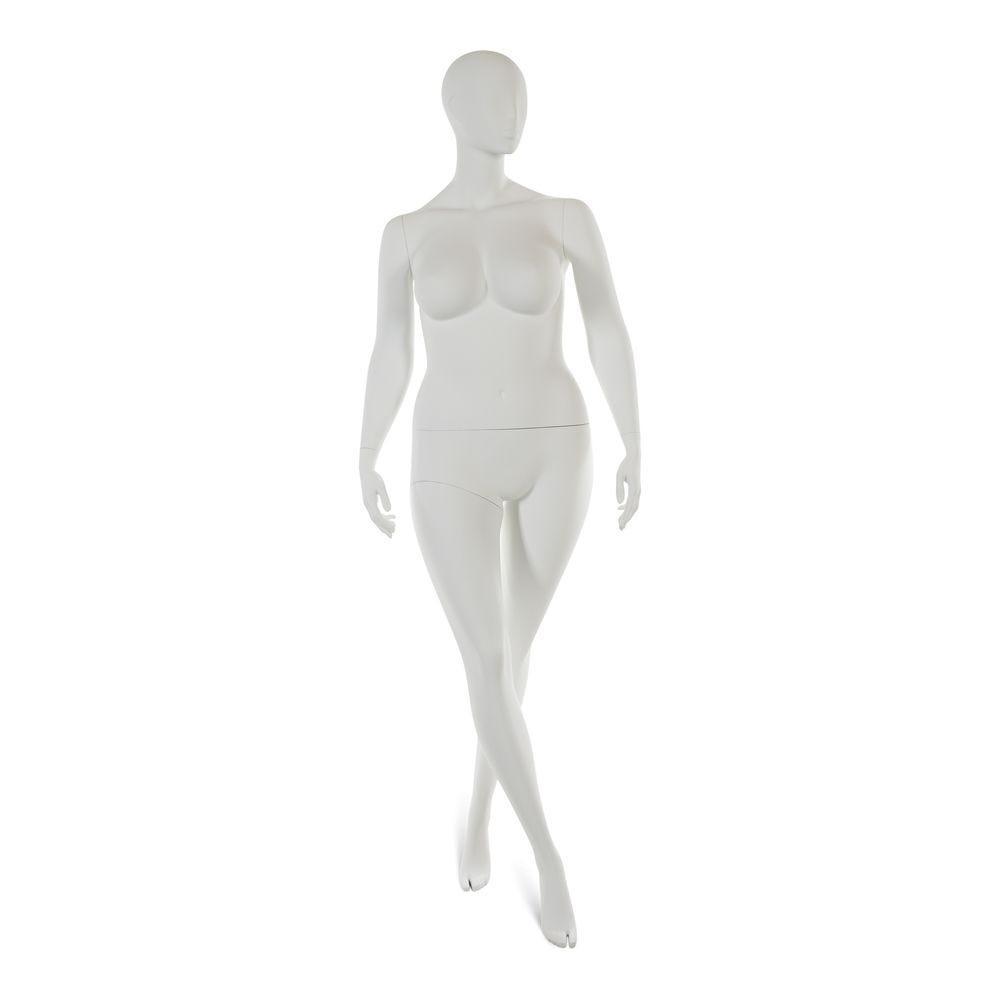 Mannequin femme taille plus tête abstraite blanc mod.a (photo)