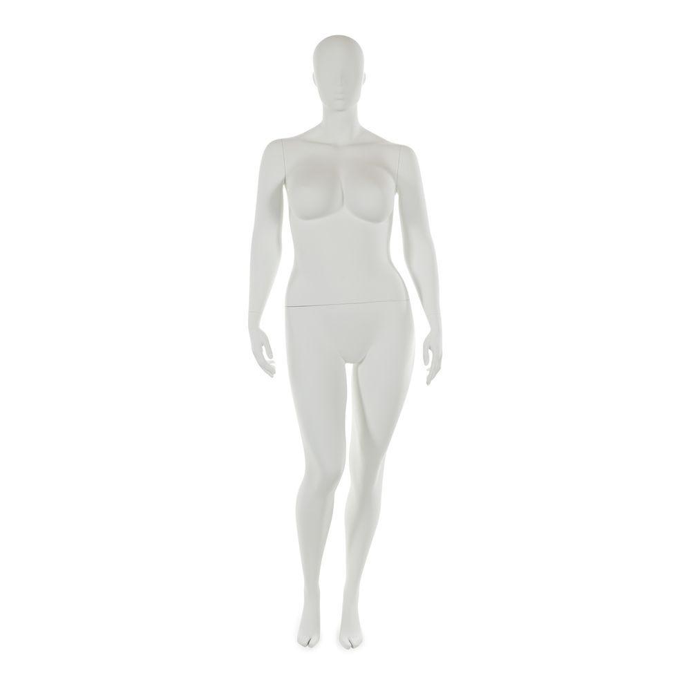Mannequin femme taille plus tête abstraite blanc mod.b (photo)