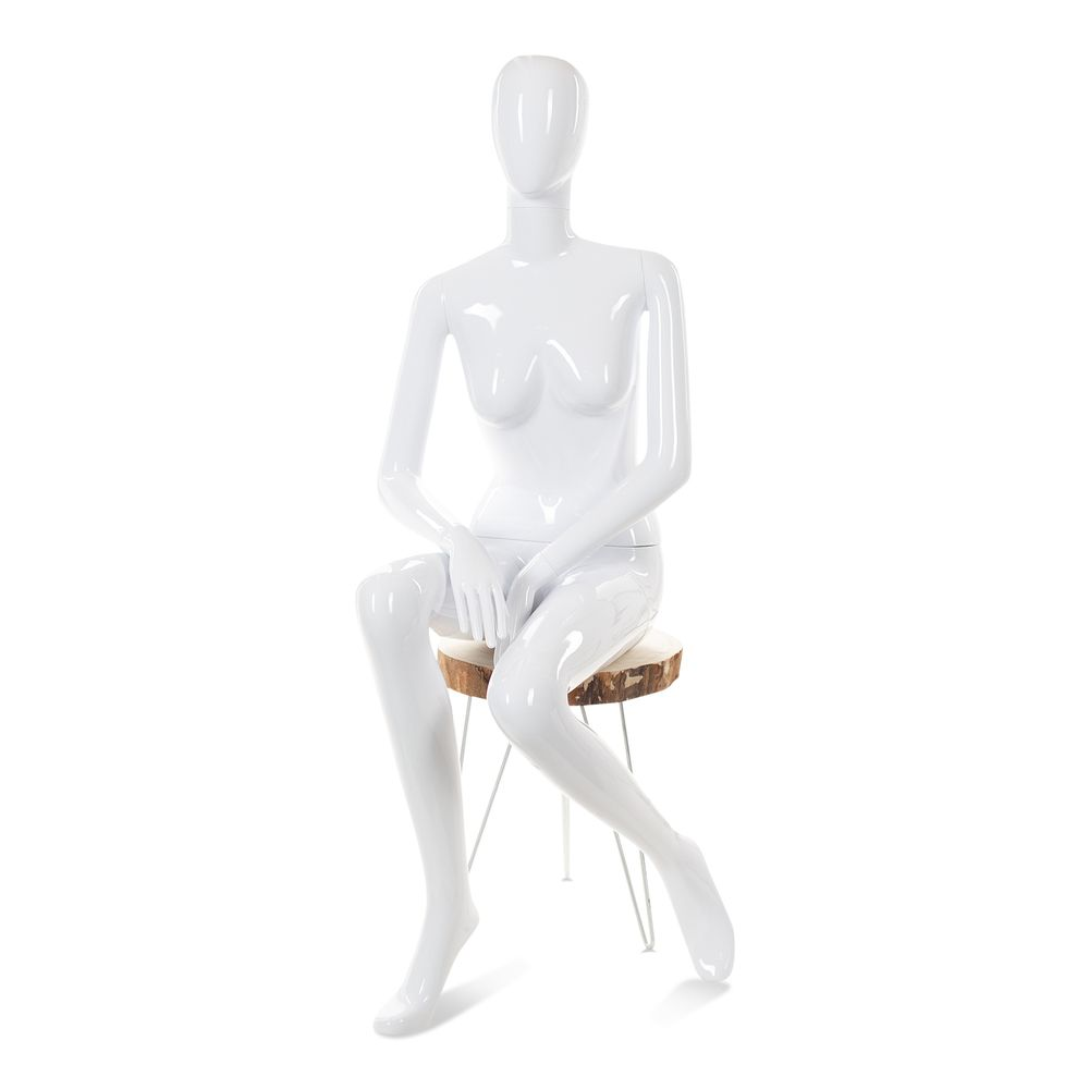 Mannequin femme tête abstraite cosmo blanc laqué mod.a (photo)
