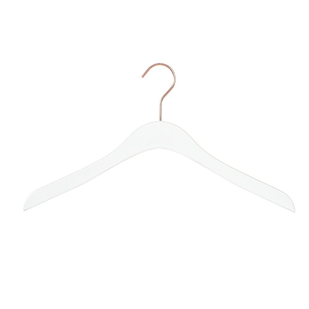 Cintre bois 41 cm blanc avec crochet doré rose - par 100