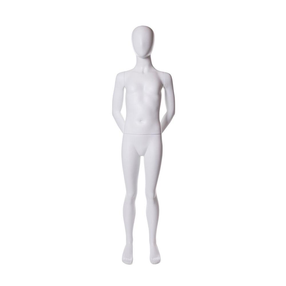 Mannequin enfant 8-10 ans tête forme oeuf fibre verre coul. Blanc mat avec base (photo)