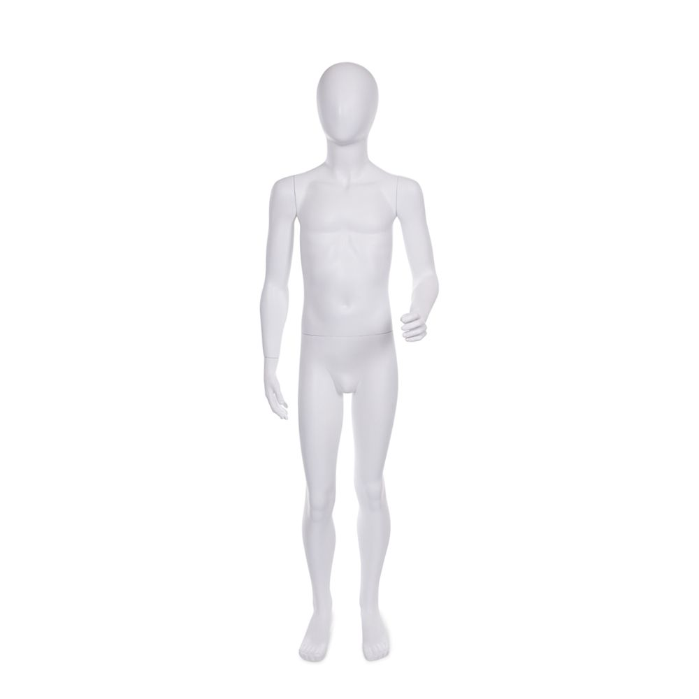 Mannequin enfant 8-10 ans tête forme oeuf fibre verre couleur blanc mat + base (photo)