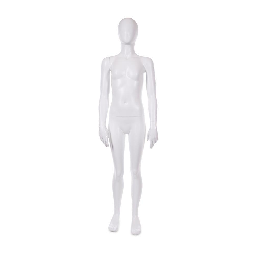 Mannequin enfant 11-12 ans tête forme oeuf fibre de verre blanc mat avec base (photo)
