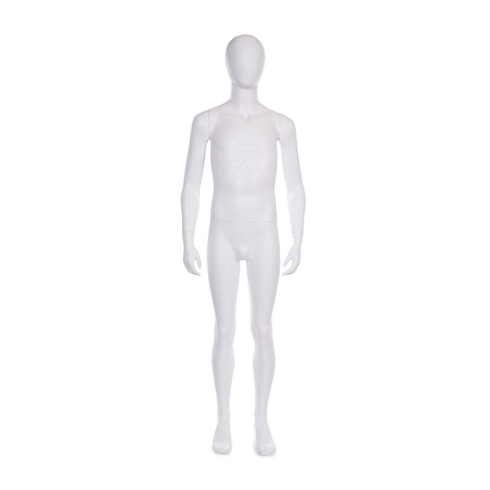 Mannequin enfant 11-12 ans tête forme oeuf fibre de verre blanc mat + base (photo)