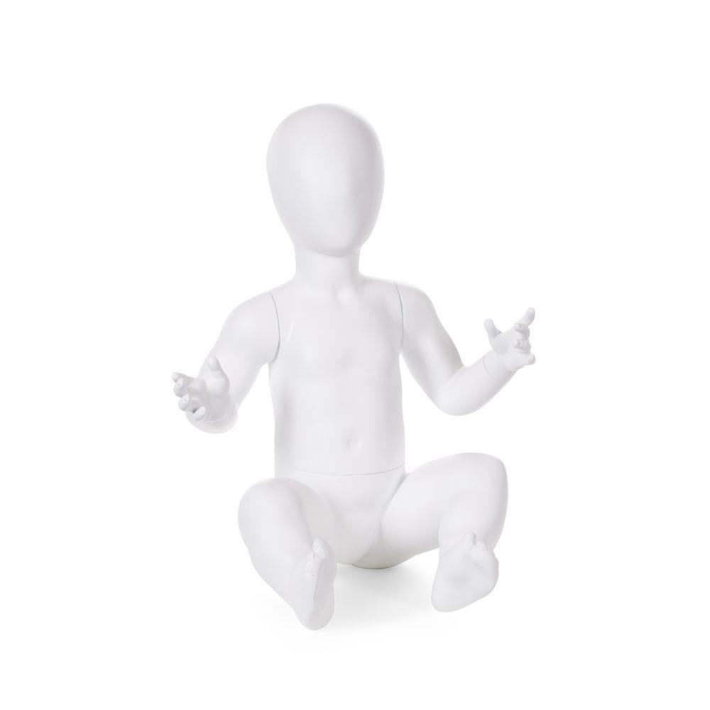 Mannequin enfant 6-12 mois tête forme oeuf assis frp coloris blanc mat avec base (photo)