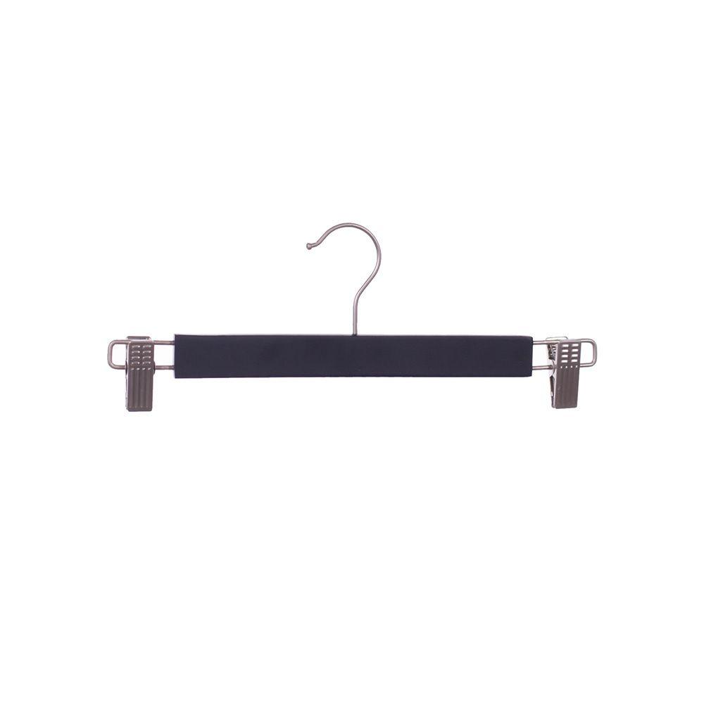 Cintre avec pinces réglables en nickel bois lotus noir mat - par 100 (photo)