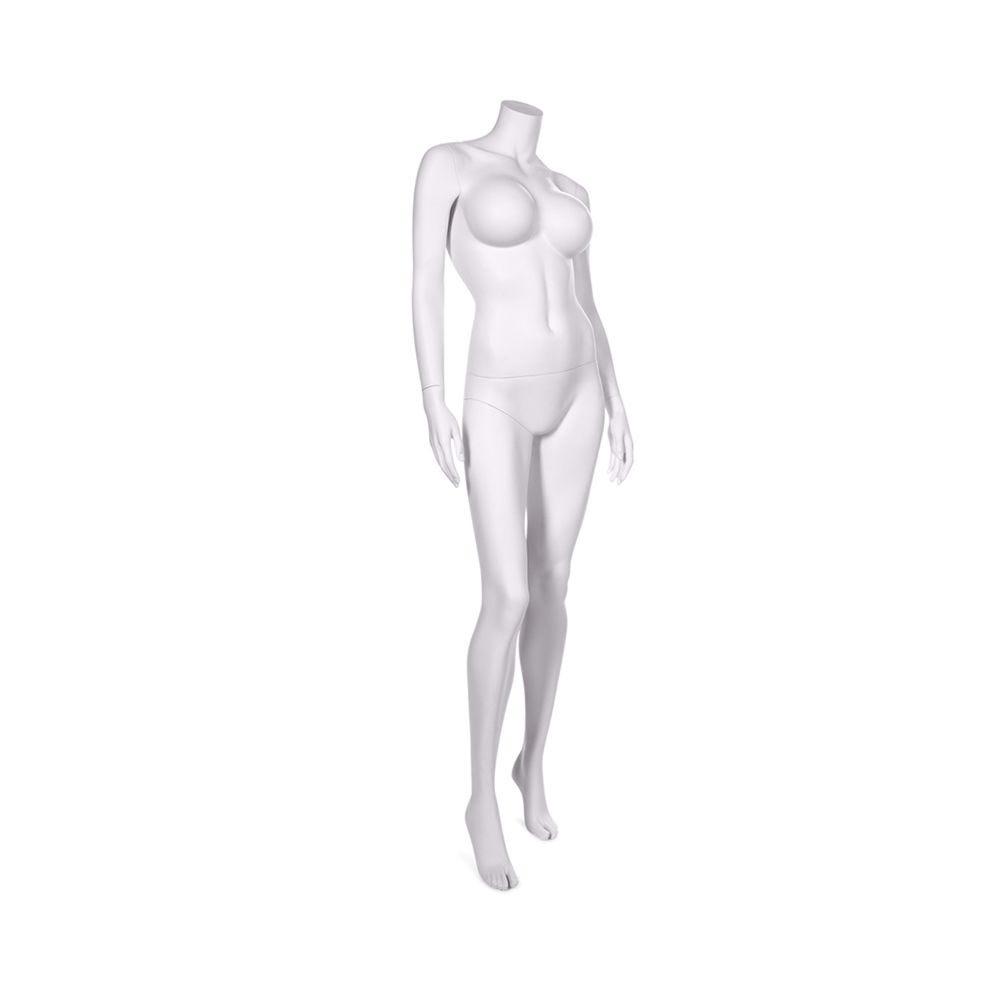 Mannequin femme sans tête qualité résine robuste blanc lait socle inox (photo)