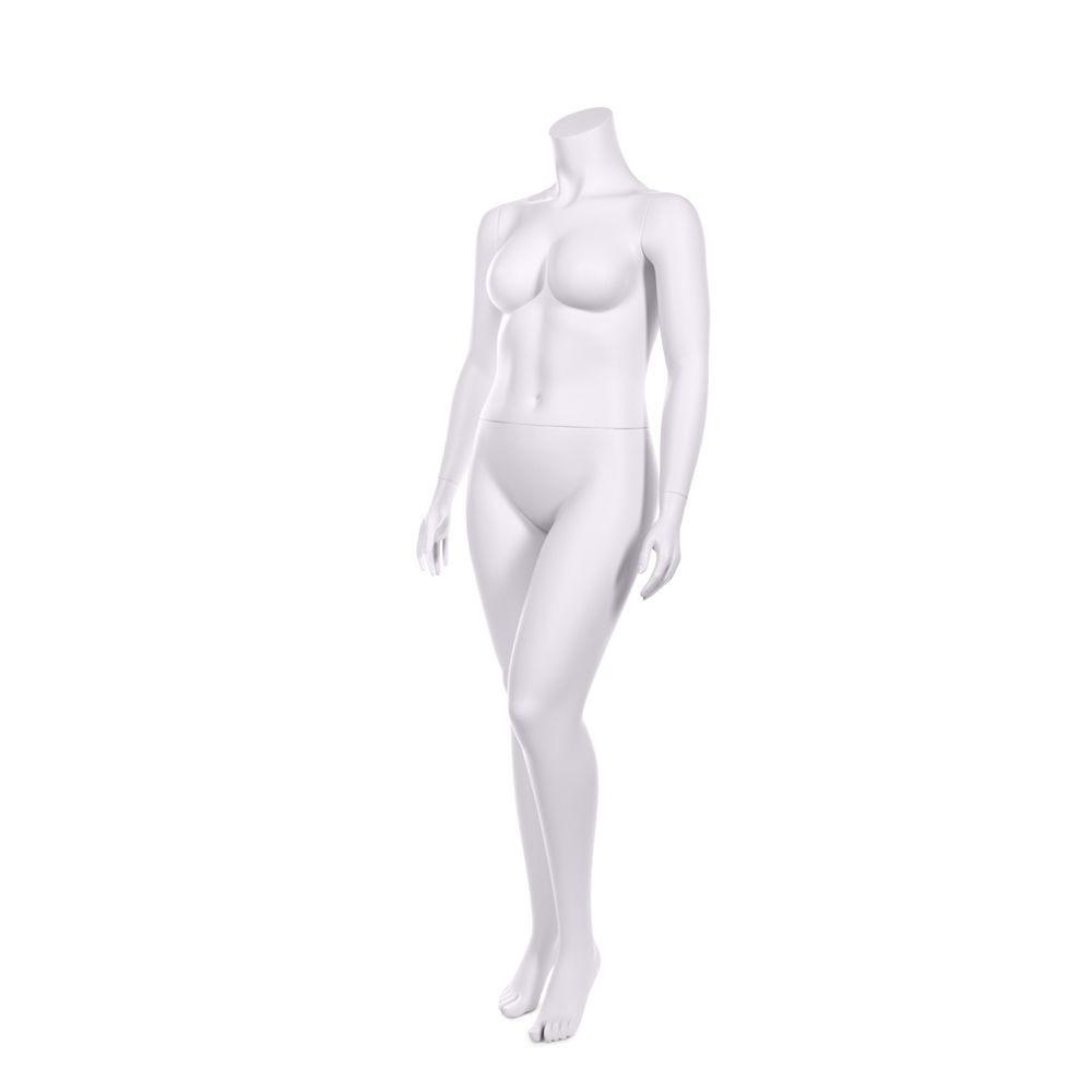 Mannequin femme ronde sans tête qualité résine coloris blanc lait socle inox (photo)
