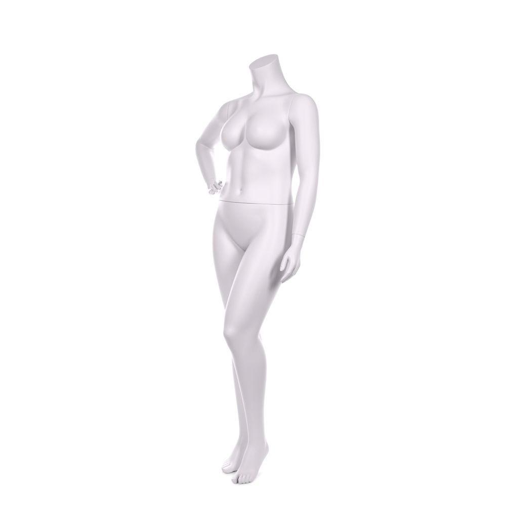 Mannequin femme ronde sans tête qualité résine blanc lait socle inox (photo)