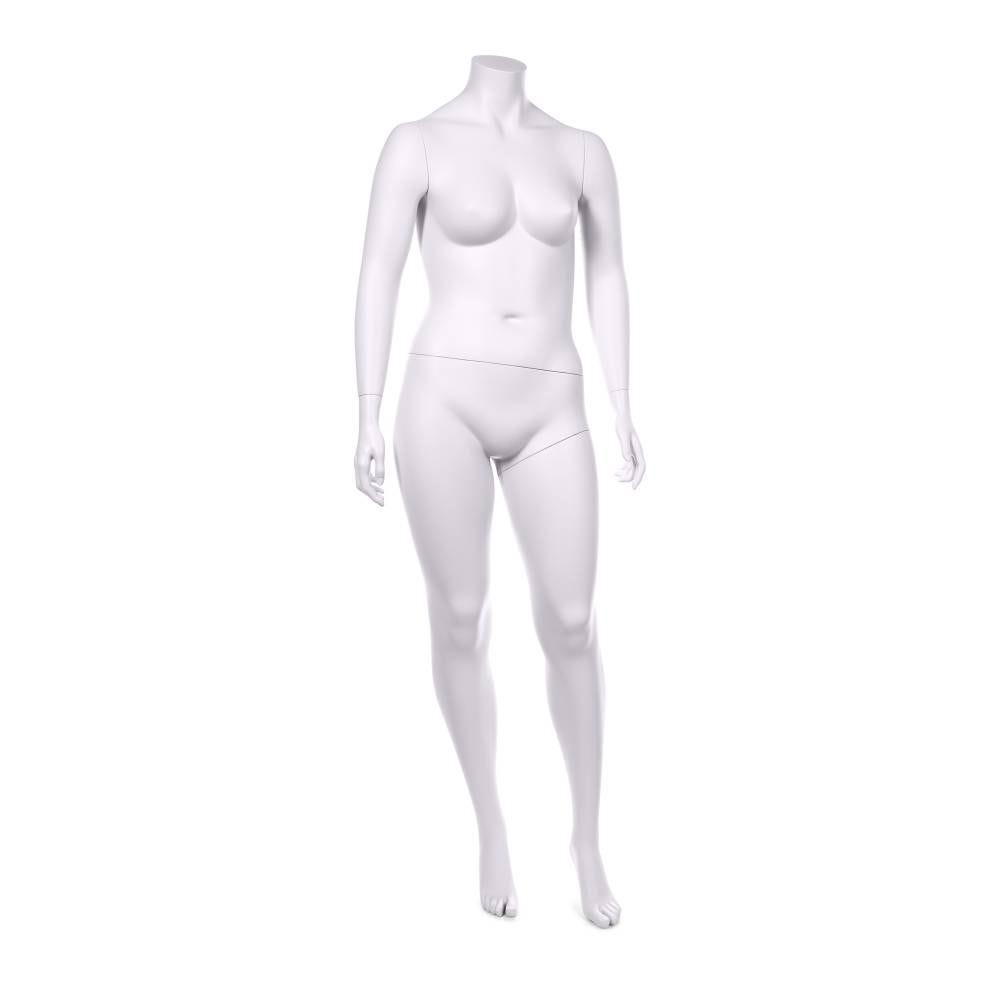 Mannequin femme ronde sans tête qualité résine couleur blanc lait socle inox (photo)