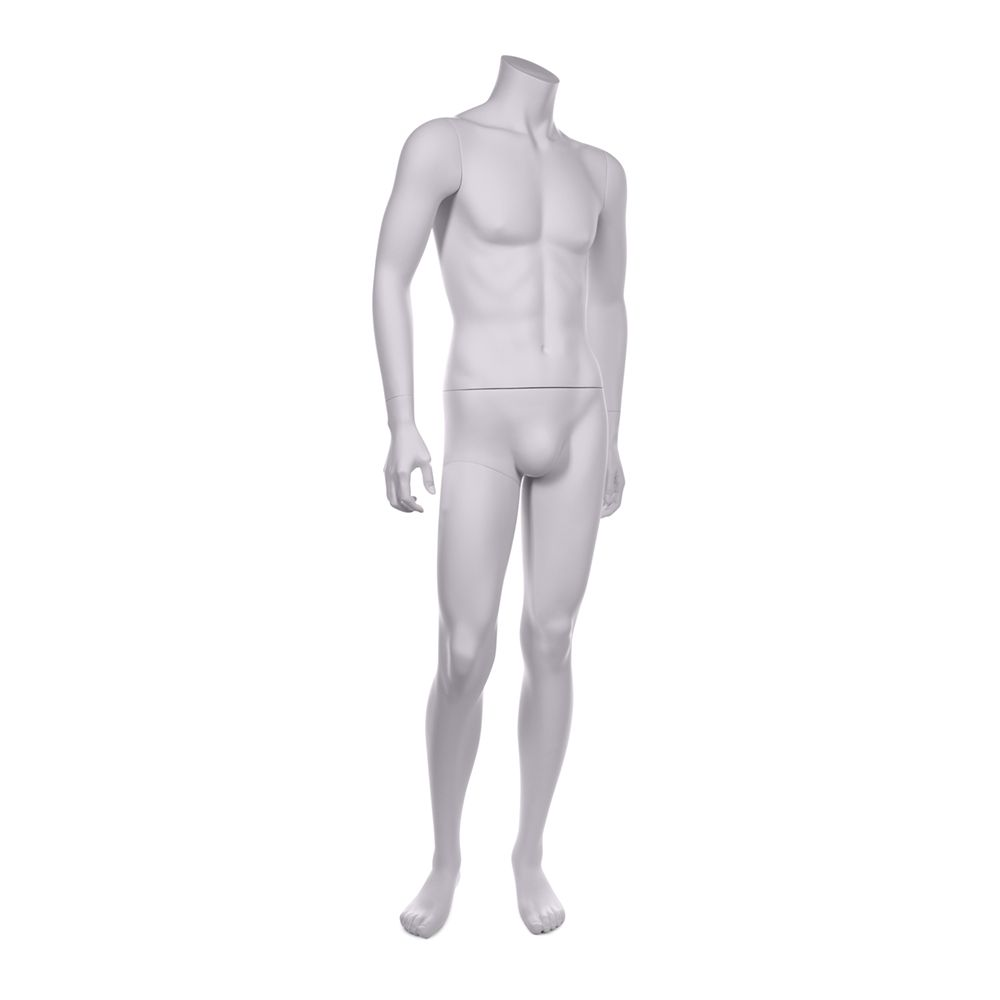 Mannequin homme sans tête qualité résine robuste blanc lait socle inox inclus (photo)