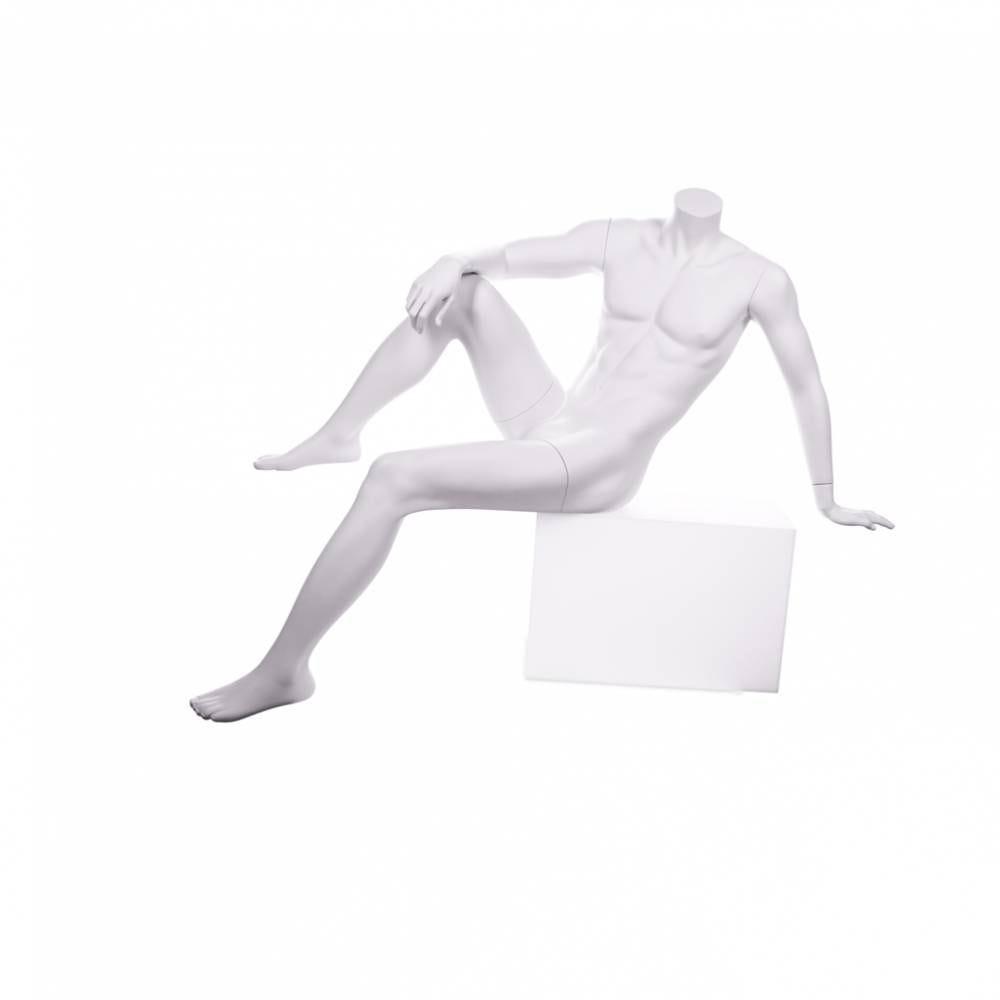 Mannequin homme sans tête assis qualité résine robuste coloris blanc lait (photo)