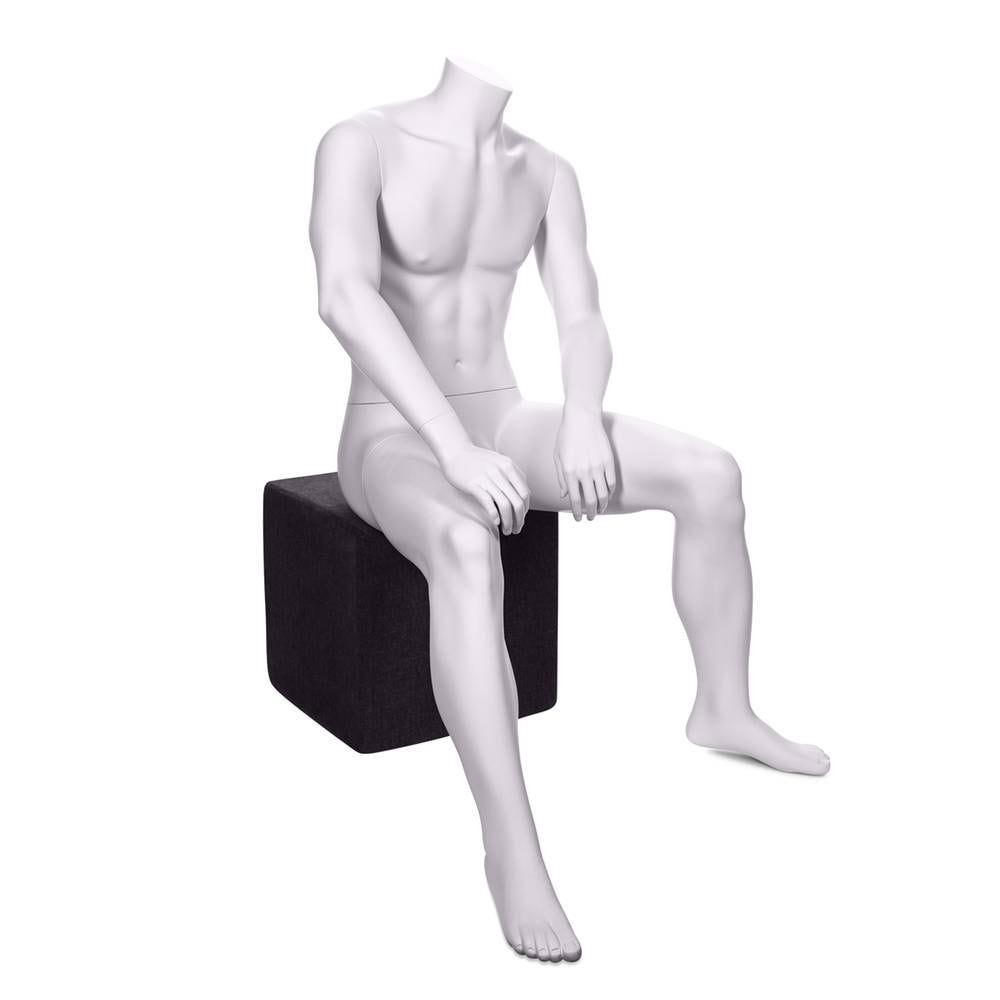 Mannequin homme sans tête assis qualité résine robuste couleur blanc lait (photo)