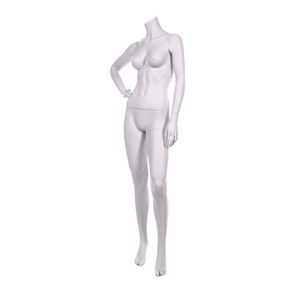 Mannequin femme sans tête qualité résine robuste blanc lait socle inox inclus (photo)