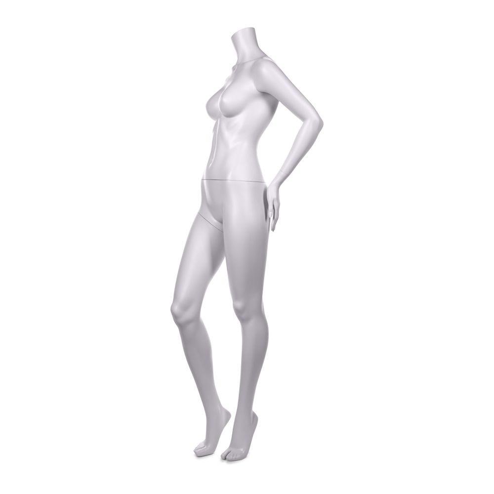 Mannequin femme sans tête qualité résine robuste blanc lait socle inox intégré (photo)