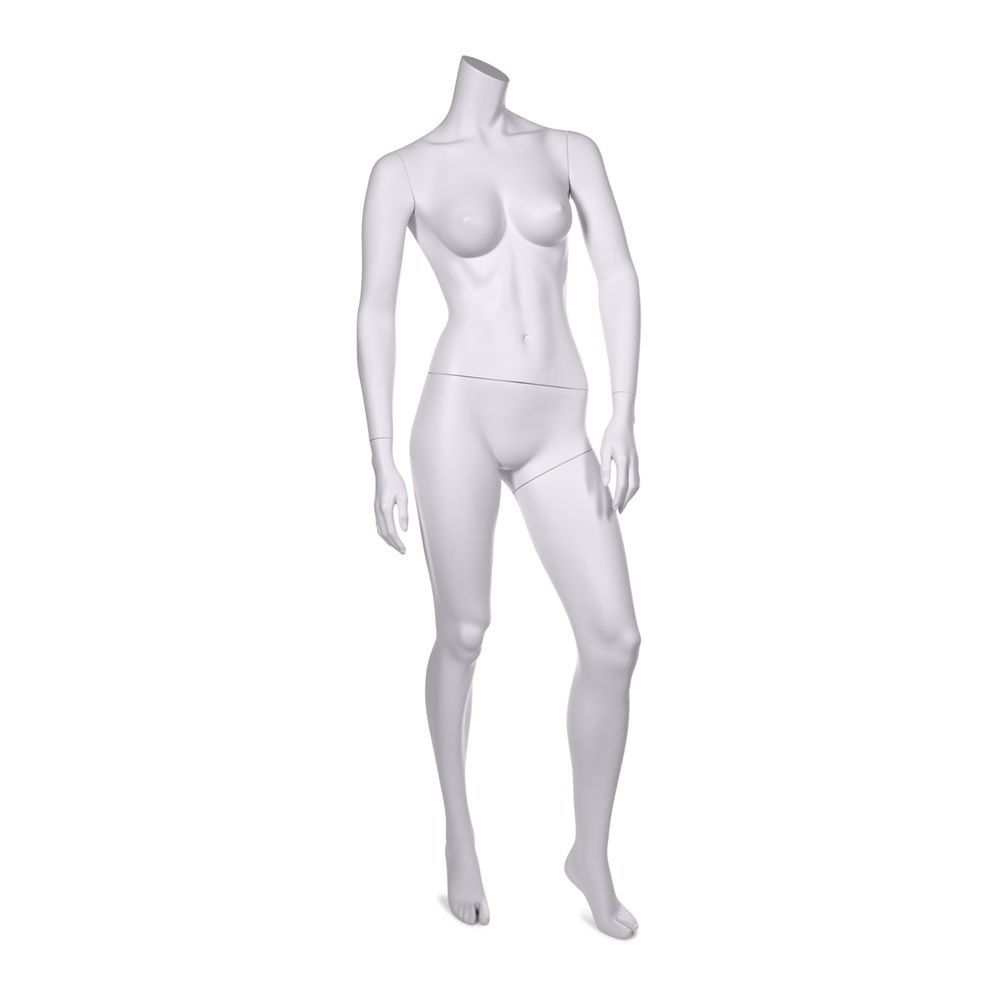 Mannequin femme sans tête qualité résine robuste blanc lait socle inox compris (photo)