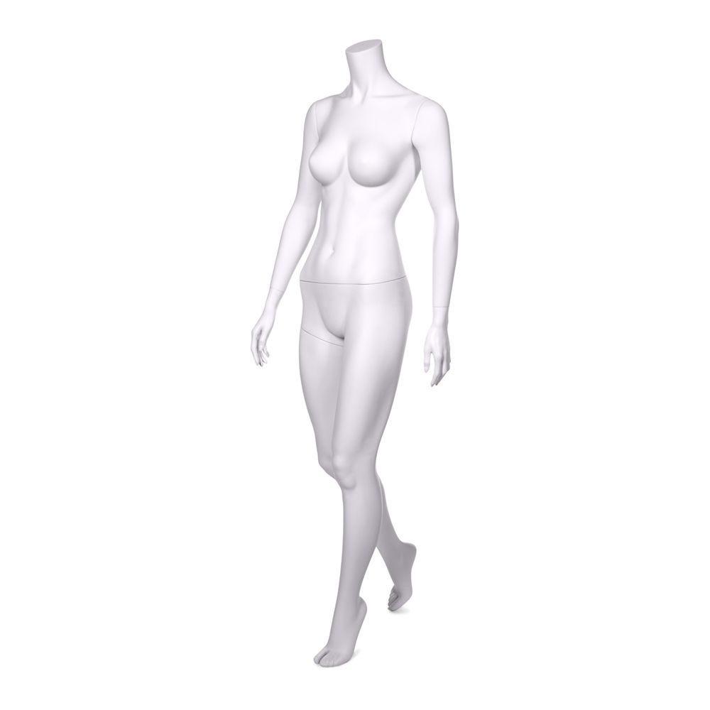 Mannequin femme sans tête qualité résine robuste blanc lait avec socle inox (photo)