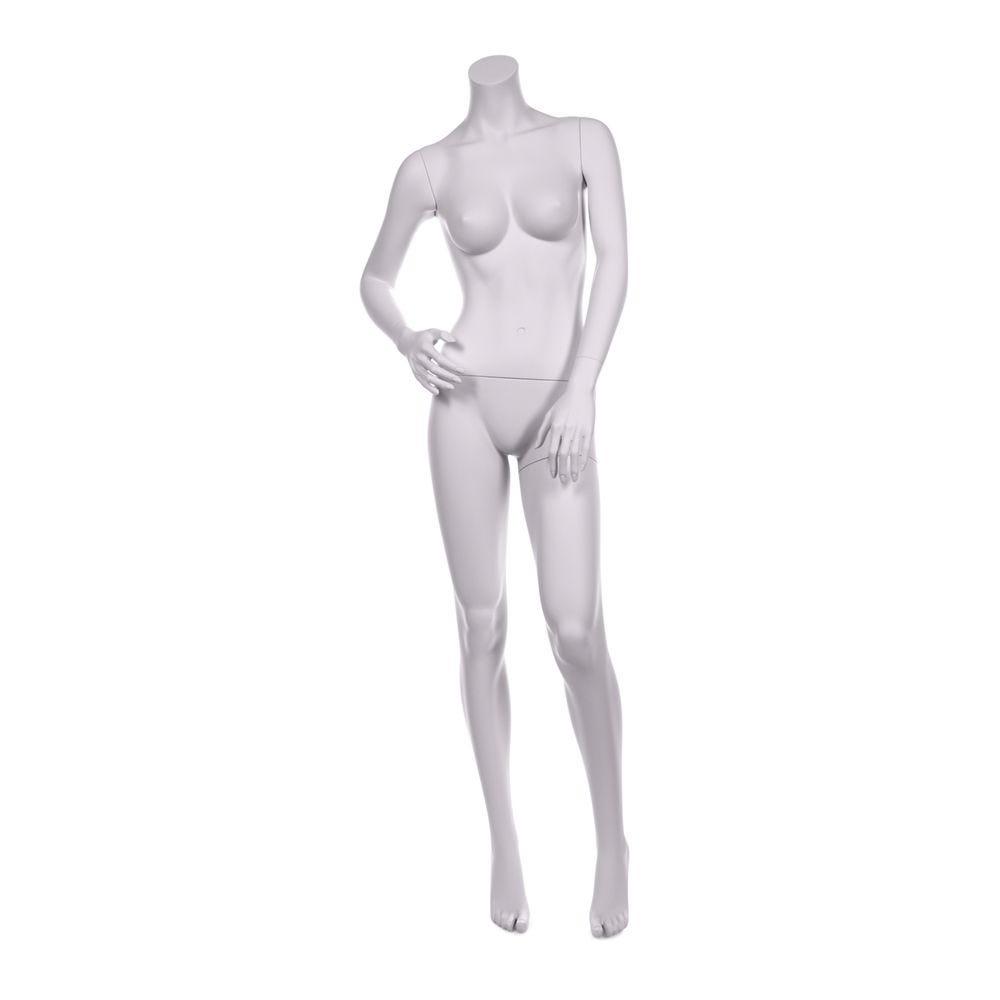 Mannequin femme sans tête qualité résine robuste blanc lait et socle inox (photo)