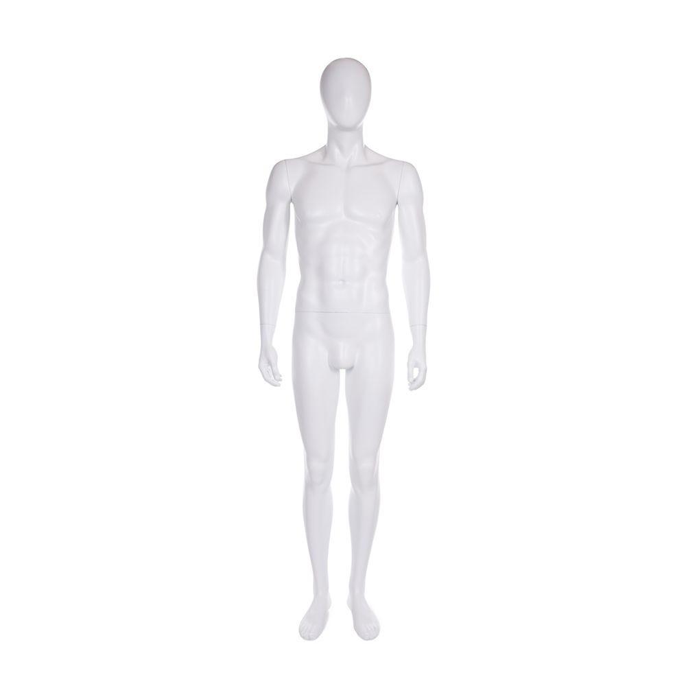 Mannequin homme tête en forme d'oeuf fibre de verre coloris blanc mat avec base (photo)
