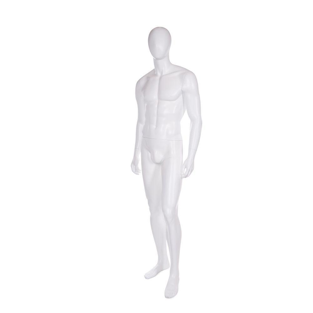 Mannequin homme tête en forme d'oeuf fibre de verre coloris blanc mat + base (photo)