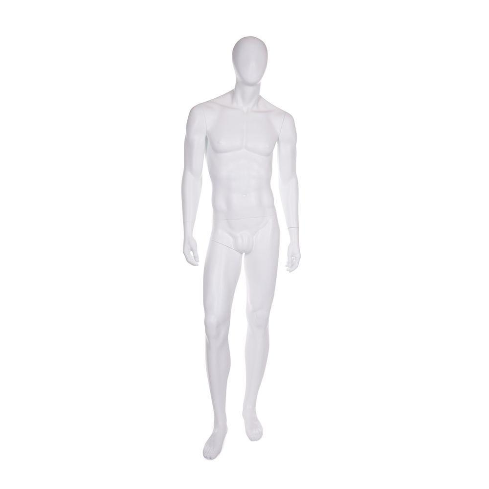 Mannequin homme tête en forme d'oeuf fibre de verre couleur blanc mat avec base (photo)