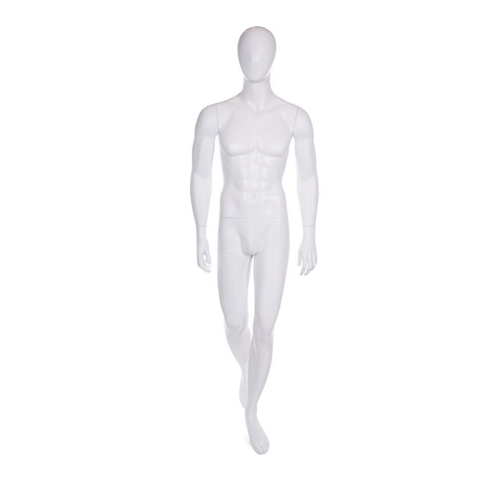 Mannequin homme tête en forme d'oeuf fibre de verre couleur blanc mat + base (photo)