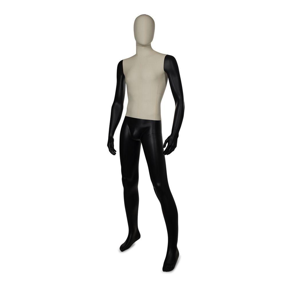 Mannequin homme torse + tête recouvert de tissu bras et jambes peints noir mat (photo)