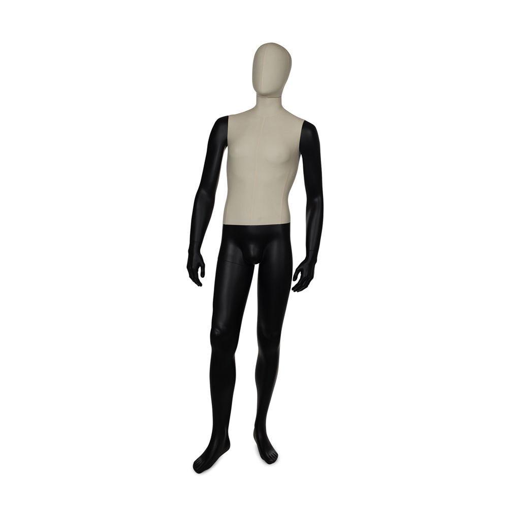 Mannequin homme torse + tête recouvert de tissu bras et jambes couleur noir mat (photo)