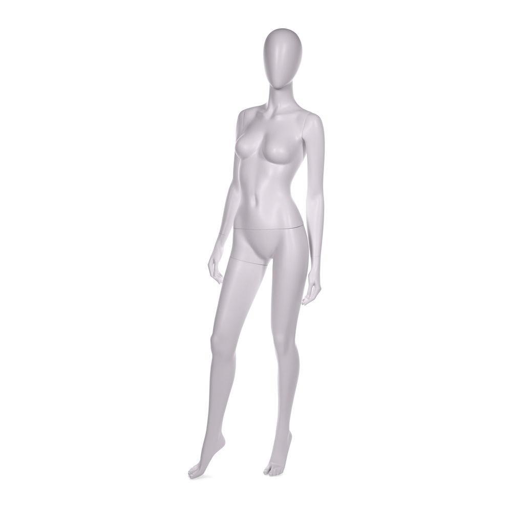Mannequin femme abstraite qualité abs finition peinture blanche socle en verre (photo)