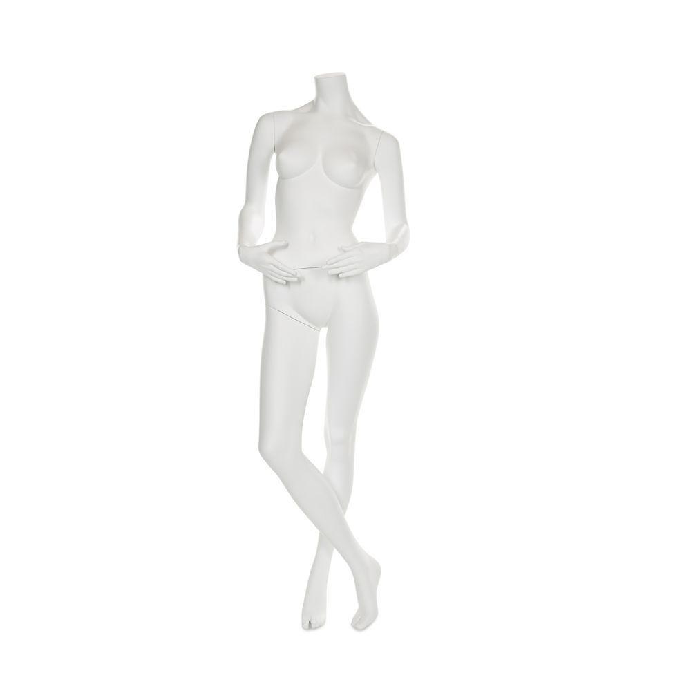 Mannequin femme sans tête résine finition peinture blanc mat socle verre inclus (photo)