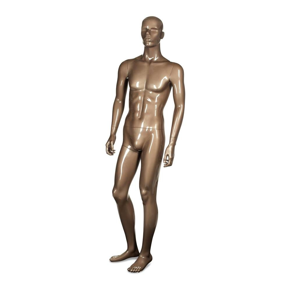 Mannequin homme semi-abstraite résine finition teint bronze brillant avec base (photo)