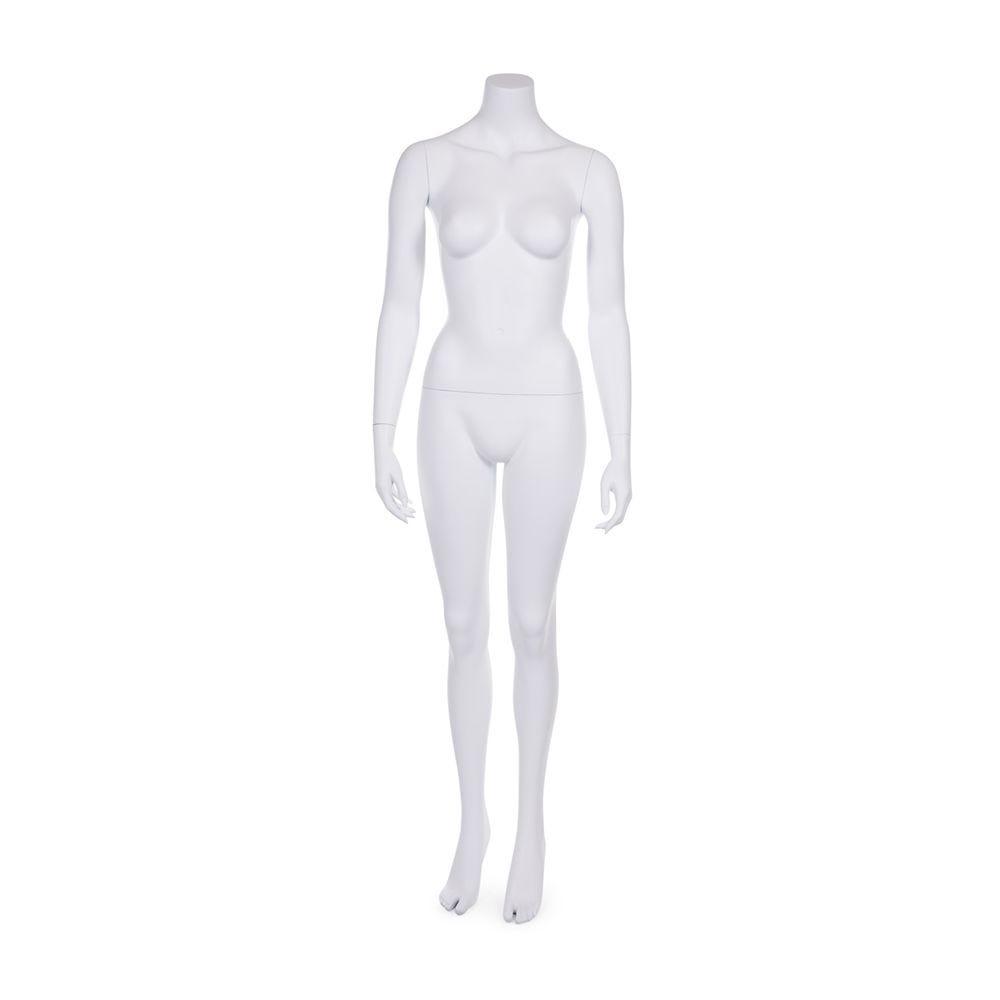 Mannequin femme sans tête résine finition coloris blanc mat socle verre inclus (photo)