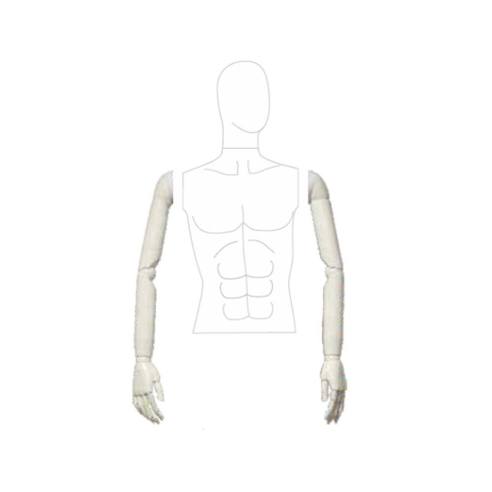Paire de bras homme articulé plastique blanc mat - Modèle 183