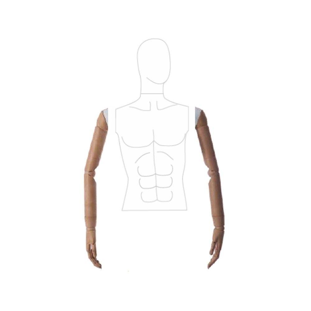Paire de bras homme articulé en imitation de bois - Modèle 8