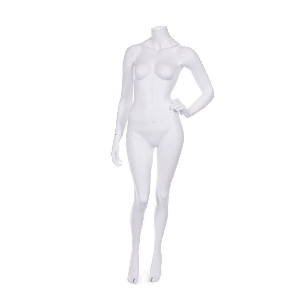Mannequin femme sans tête résine finition coloris blanc mat avec socle en verre (photo)