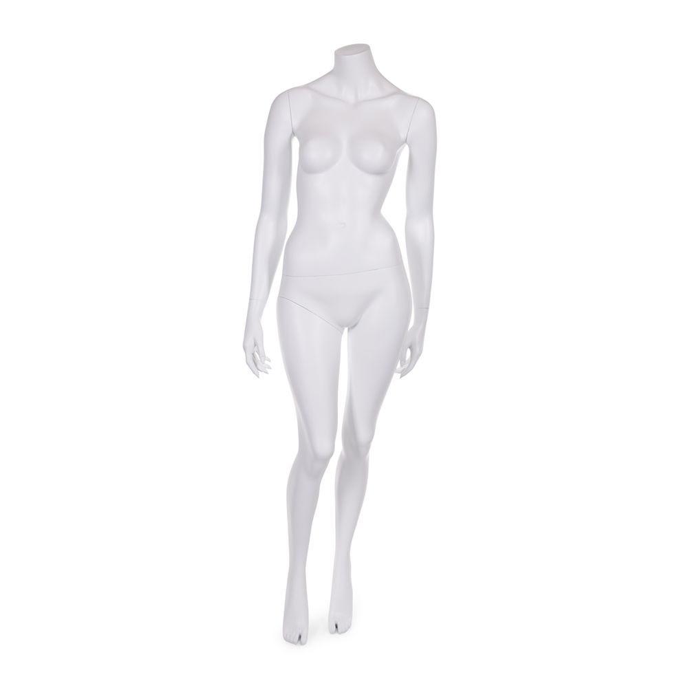 Mannequin femme sans tête résine finition peinture blanc mat avec socle en verre (photo)