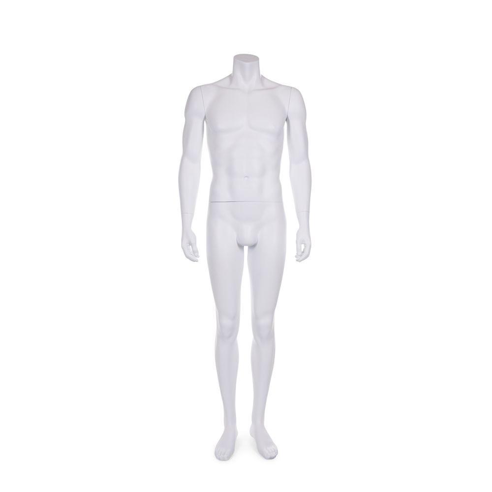 Mannequin homme sans tête résine finition peinture blanc mat socle en verre (photo)