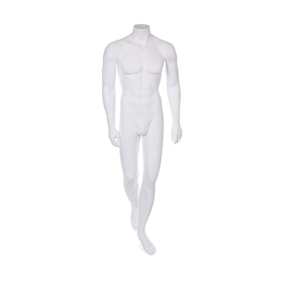Mannequin homme sans tête résine finition peinture blanc mat et socle en verre (photo)