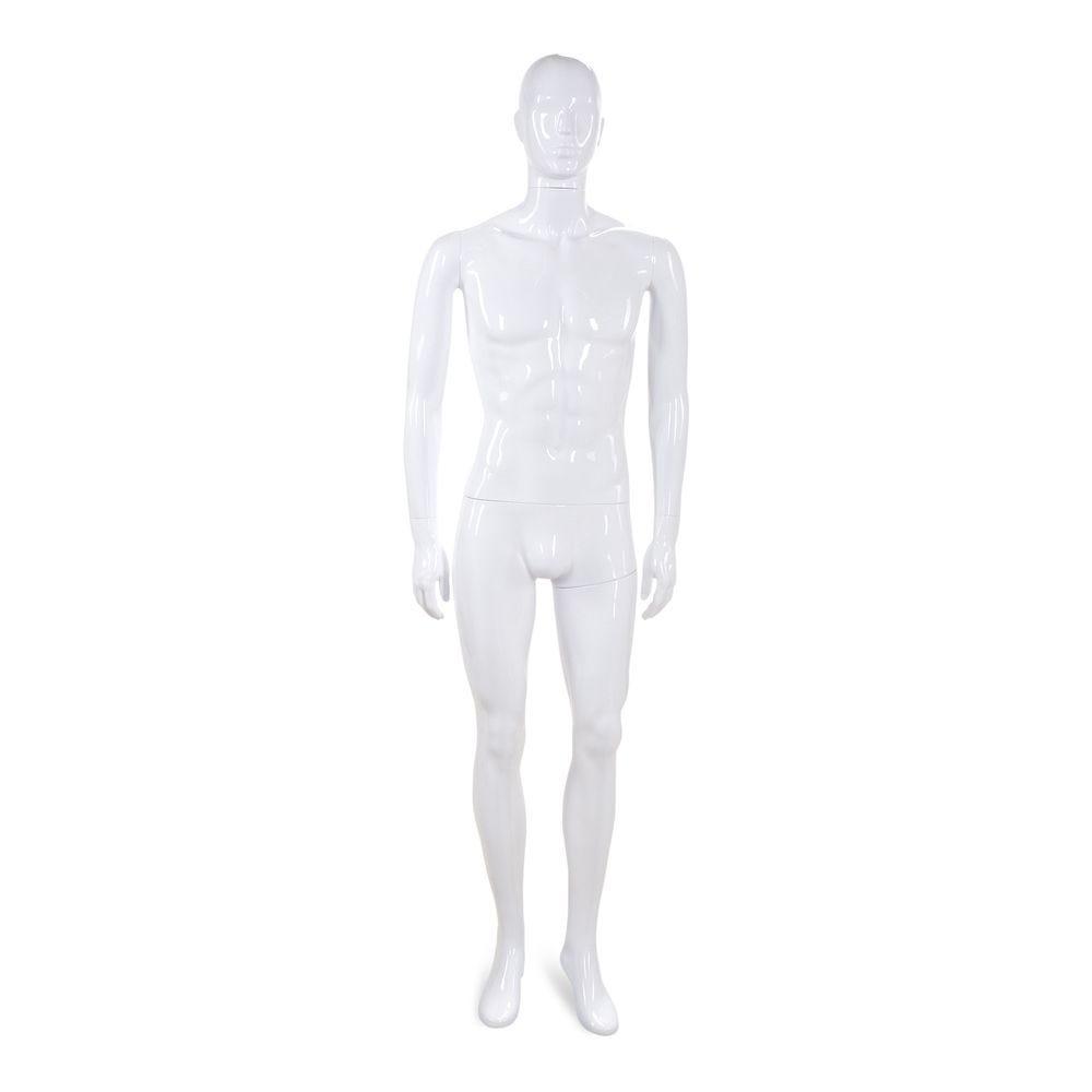 Mannequin homme tête abstraite ABS blanc laqué - Modèle 40