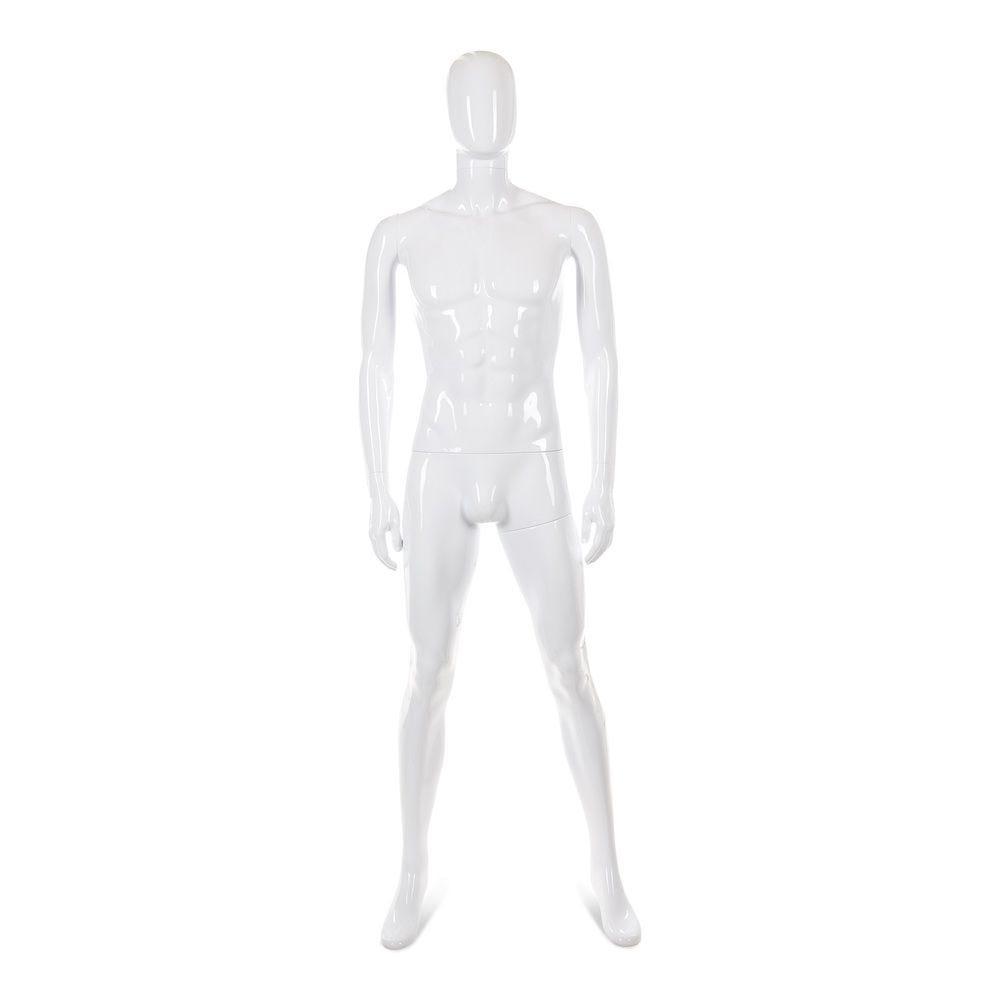 Mannequin homme tête abstraite ABS blanc laqué - Modèle 47