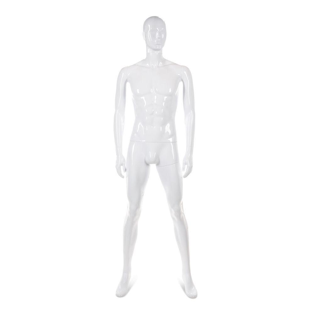Mannequin homme tête abstraite ABS blanc laqué - Modèle 46